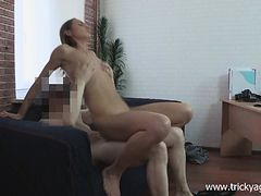 Skinny young brunette with tiny tits rides her bald cunt on a hard dick