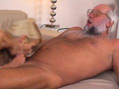 Hot Blonde Babe Enjoys A Mature Cock
