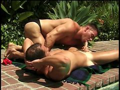 Thick guys in swimsuits in outdoor gay video