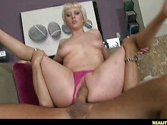 Cherry gets her pussy pounded from behind as her juicy tits bounce.
