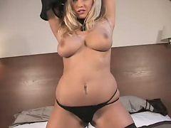 Annika strips and masturbates solo
