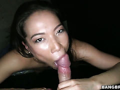 Lily with big butt is on the edge of nirvana with guys hard man meat in her mouth