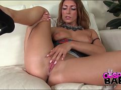 Honey in heels shakes her ass in close up