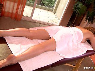 hot blonde getting a massage