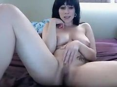 Home alone brunette slut teasing and having fun nude on livecam