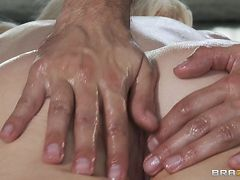 hot blonde slut is getting hot and erotic oil massage