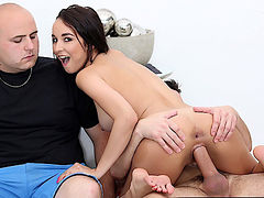 Petite brunette wife sits on fat dick