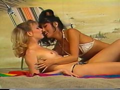 Pussy Licking Lesbian Action On Beach