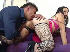 Busty Paloma Vargas in sexy fishnet stockings gets her wild pussy fingered by stud
