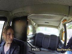Female taxi driver fucks in taxi