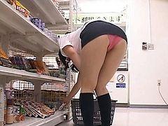 Japanese AV Model shows off her panties in the store