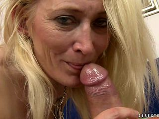 Mature is in the mood for sausage sucking