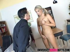 Teen with oiled ass blows her mature teacher
