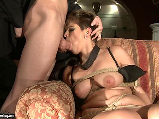 With juicy knockers takes man's stiff meat pole so fucking deep after foreplay