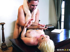 Blonde chica Nikki Delano with giant breasts spends time doing it with horny bang buddy Keiran Lee