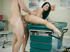 Johnny Sins touches the hottest parts of glammed up Reagan Foxxs body before he drills her pussy